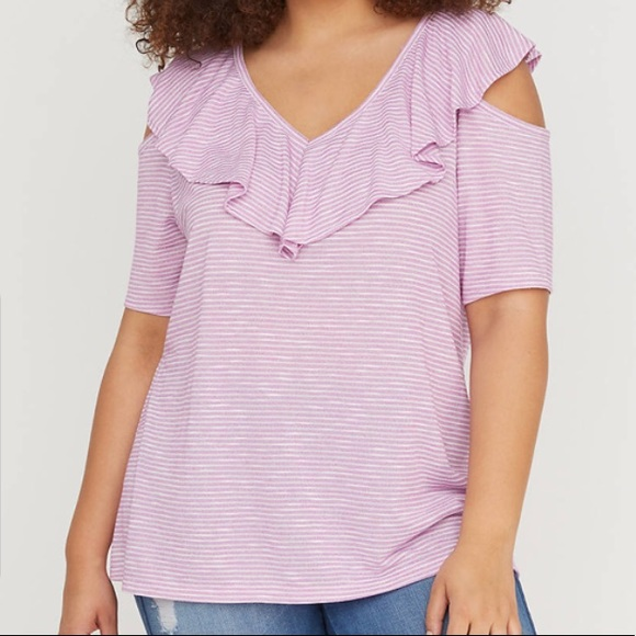 5cee459bd20c78 NWT Lane Bryant Hacci Ruffle Cold-Shoulder Top